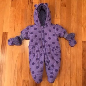 Baby Girls Bunting Snowsuit with Mittens